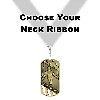 "3"" Male Gymnastics Dog Tag Series Medal [DT-205]"